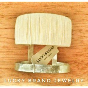 Lucky Brand Silver Cuff Bracelet w White Wrap